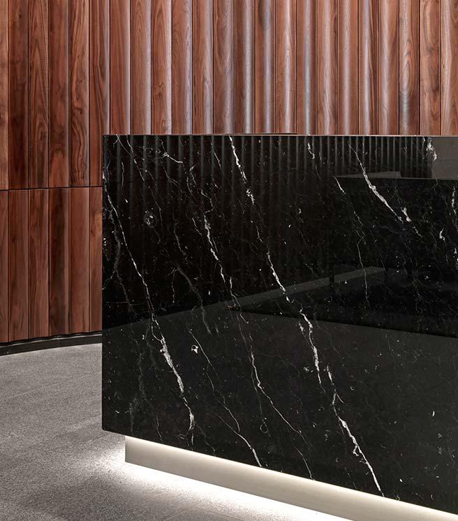 Nexus marble reception.
